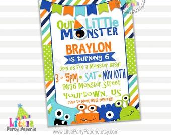 Monster Birthday Party Invitation   Boy Birthday   Digital Invitation   Printable Invitation   Design 16009