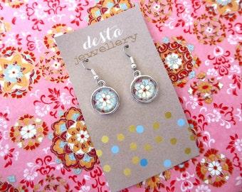 Flower Mandala Glass Dome Earrings
