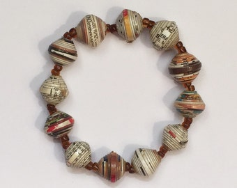 Paper Bead Bracelet--Multi-Color, Green, Yellow Paper Beads