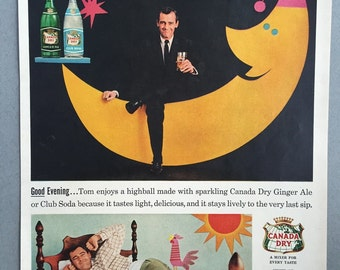 1957 Canada Dry Print Ad - Ginter Ale and Club Soda