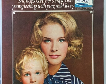 1970 Ivory Soap Print Ad featuring Mrs. Douglad Gian and daughter Deborah.