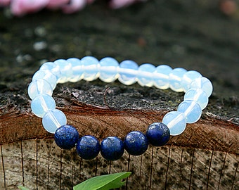 Moonstone Bracelet Gift for guys Lapis Lazuli Bracelet Guys Bracelet  Gemstone Jewelry Beaded Gemstone Stretch Bracelet  Natural Jewelry