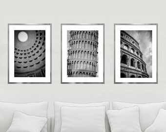 Italy Print Set, Set of 3, Set of 3 City Prints, Set of Prints, Rome, Pisa, Colosseo, Pantheon, Roma, Italy Wall Art, Italian Art, Decor