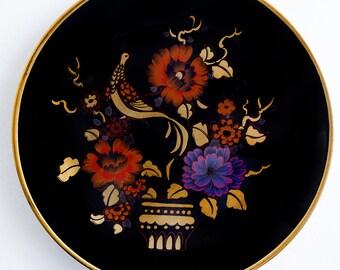 Big sale! 50% off. Cobalt blue porcelain / Weimar porcelain / decorative plate / wall plate / wall hanging plate / bird and flowers pattern