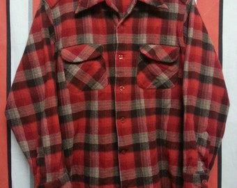 Vintage 60's-70's//Pendleton//Wool Flannel Shirt//Made in Usa