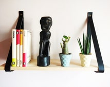 Black Leather Strap Shelf 3mm / 7.5oz Thick Vegetable Tanned Leather. Shelving, Leather Wall Hanging Shelf - Price Per A Pair