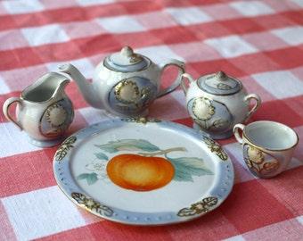 Lusterware Children's Tea Set Blue and Orange