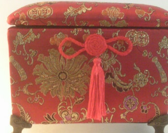 Chinese Silk Embroidered Red, Gold and Pink Jewelry Box