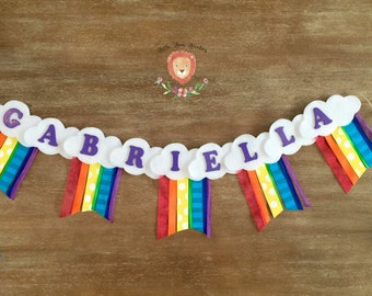 Personalized Rainbow Name banner, Rainbow Birthday Party, Rainbow Party, Rainbow Baby Shower, Rainbow Room Decor, Rainbow Baby, Clouds