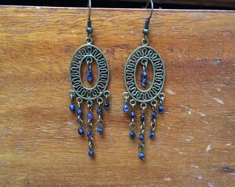 Sapphire Filigree Chandelier Earrings, handmade earrings, chandelier earrings, sapphires, sapphire earrings, filigree earrings