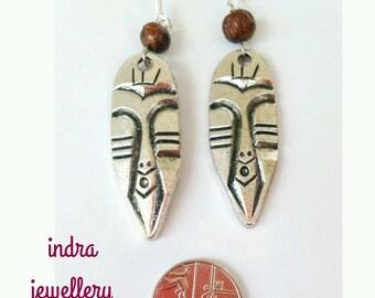 tribal earrings, african earrings, ethnic earrings, mask earrings, boho earrings, bohemian jewelry