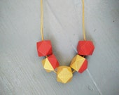 Geometric Necklace - Gold & Dark Orange | Statement Necklace | Hand Painted | Wooden Beads | Handmade | Gold necklace | Gift for her