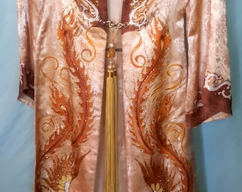 Vintage hand painted silk kimono with front closure, size small/med