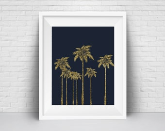 Palm Tree Wall Art Print, Beach House Decor, Printable Gold Glitter Palm, Tropical Navy blue Modernism Printable art poster, Large print