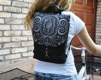 Black Hipster Backpack, Women's Rucksack, Waterproof Functional Bag, Solid Crossbody bag, Macbook backpack, city backpack, Street wear