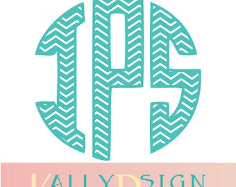 Circle monogram svg, Chevron letters svg, Monogram svg, SVG Monogram font, Svg files, Monogram alphabet svg, Svg files for cricut