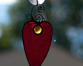 Red Princess Stained Glass Heart