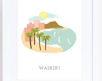 Oahu Waikiki Art Print - 8 x 10 - Hawaii Landmarks Art Print