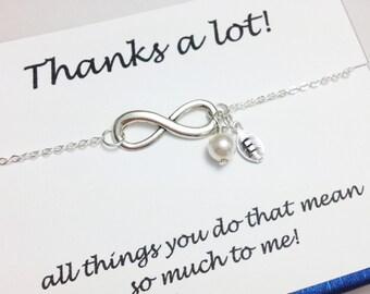 Infinity bracelet - personalized bracelet - pearl bracelet - girlfriend bracelet - BFF gift - birthday