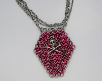 Pink Death Chainmaille Coffin Gothic Necklace