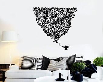 Wall Vinyl Decal Magic Lamp Cool Floral Flower Decor 2330di