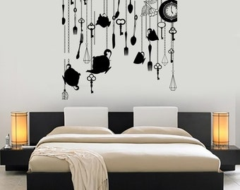 Wall Art Mural Romantic Bedroom Clocks And Keys Fantasy Amazing Decor 1493dz