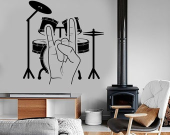 Wall Vinyl Music Drum Rock Heavy Music Guaranteed Quality Decal Mural Art 1502dz