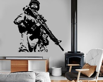 Wall Vinyl US Soldier Marine Army Military Guaranteed Quality Decal Mural Art 1628dz
