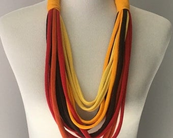Fall Colored T Shirt Necklace, Multi Strand T Shirt Necklace, Upcycled T Shirt, Handmade T Shirt Necklace, Red Brown Yellow Orange Necklace