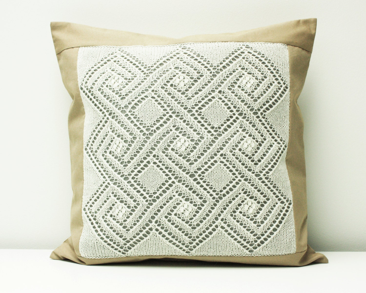 Shabby Chic Knit Pillow Hand Knit Lace Pillow Cottage Chic