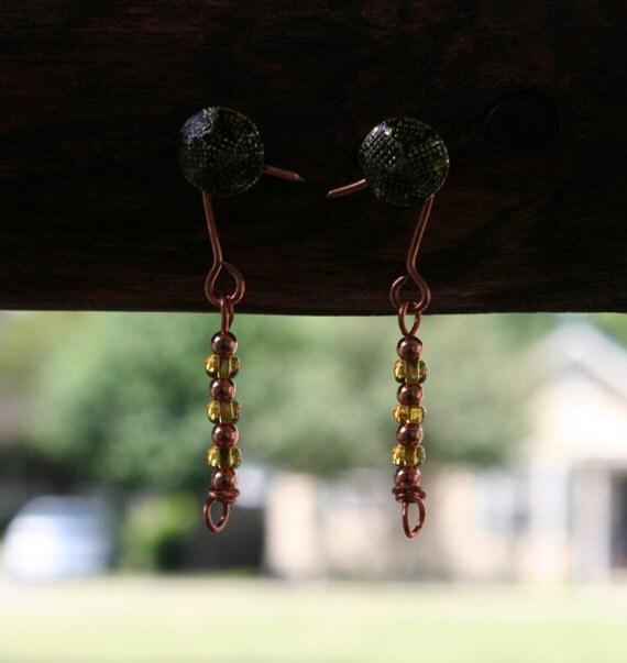 Copper and Honey Beaded Earrings