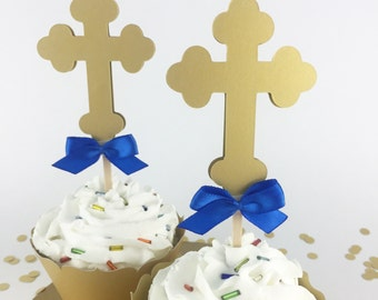 Party Decorations - Baptism Decor - Christening Decor - Communion Decor - Cross Cupcake Toppers - Gold Cross Cupcake Toppers - Set of 12