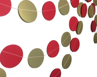 Party Decorations - Valentine's Day Decorations- Anniversary - Valentine's Day Garland- Gold Garland - Red and Gold Circle Garland - 10 Feet