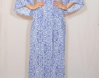 Blue and white dress Bohemian maxi dress Long dress Kimono dress Women