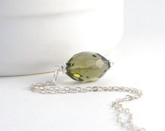 Smoky Green Quartz Pendant - Sterling Silver Dangle Bead - Green Quartz Necklace Jewelry