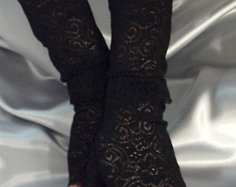 Black lace cuffs fingerless gloves