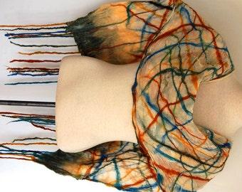 Plaid Silk Scarf, Silk Shawl, Silk Wrap, Women's Scarf, Unique Handmade Scarf, Nuno Felted Scarf, Nuno Felt Clothing, Felt Wrap Gift for Her