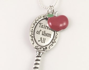 Fairest of them all necklace, snow white necklace, charm necklace, evil queen mirror, red apple, gift for her, mother gift, daughter gift