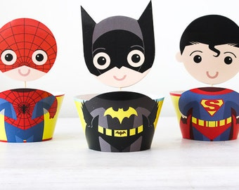 Superhero Cupcake Toppers Wrappers, Party Decoration, Birthday Party Cupcake Wrappers, Superhero Party Batman Superman Spiderman. Set of 12