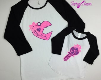 Mommy and Me Shirts,  Best Friends, Sisters, Mother and Daughter Ragland Shirt Lock and Key Shirt