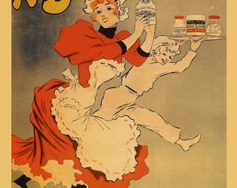 Food A Bizouard Dijon Mustard France French Vintage Poster Repro FREE SHIPPING in USA