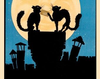 Chocolate Candy Black Cats Moon Cioccolato La Perugina Italy Italia Italian Food Vintage Poster Repro FREE SHIPPING