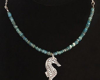 Silver Seahorse Necklace | Silver Clay Beach Necklace | Silver and Apatite Necklace | Metal Clay Jewelry | Ocean Jewelry | Beach Jewelry