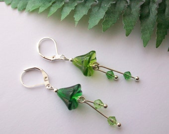 Enchanted Woodland ~ Mismatched green glass flower earrings