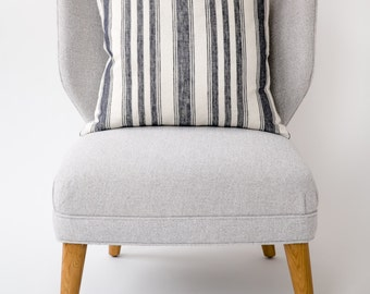 Linen Pillow Cover in Navy French Stripe