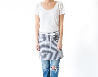 Women's Linen Half Apron in Riptide Navy Stripe