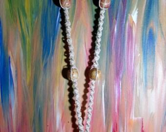 Clear quartz stone long womens hemp necklace
