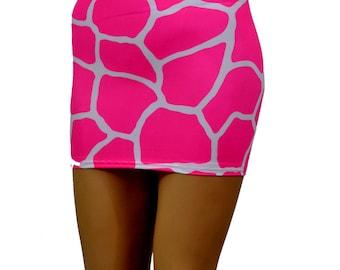 Hot Neon Pink White Giraffe Animal Print Mini Skirt