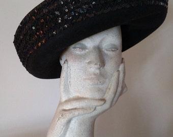 SYLVIA Upturned Brim Black felt Hat/ Sequin Embellishment/ Winter Hat/ Sylvia of New York and St. Louis