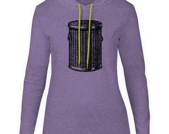 Mintage Trash Can  Womens Fine Jersey Hooded T-Shirt